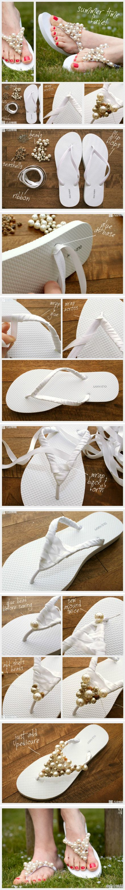 Add beading to flip-flops by setting a ribbon backboard.
