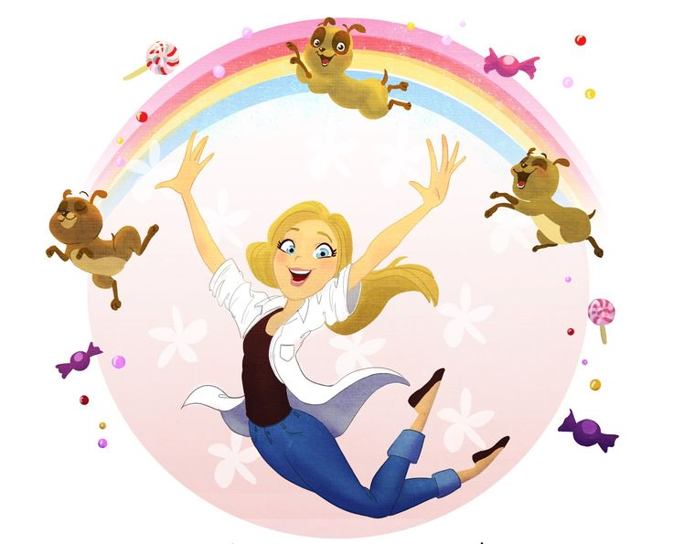 #Character #Design; #Colors; #Girl; #Rainbow : #Illustration; #Cute; #Kids #Dog #Pug