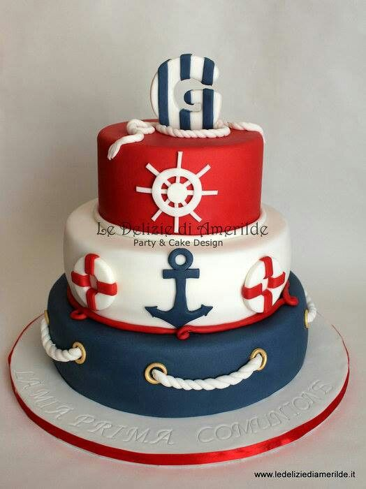 Loving this cute nautical themed cake! Perfect for a 4th of July by the beach or…