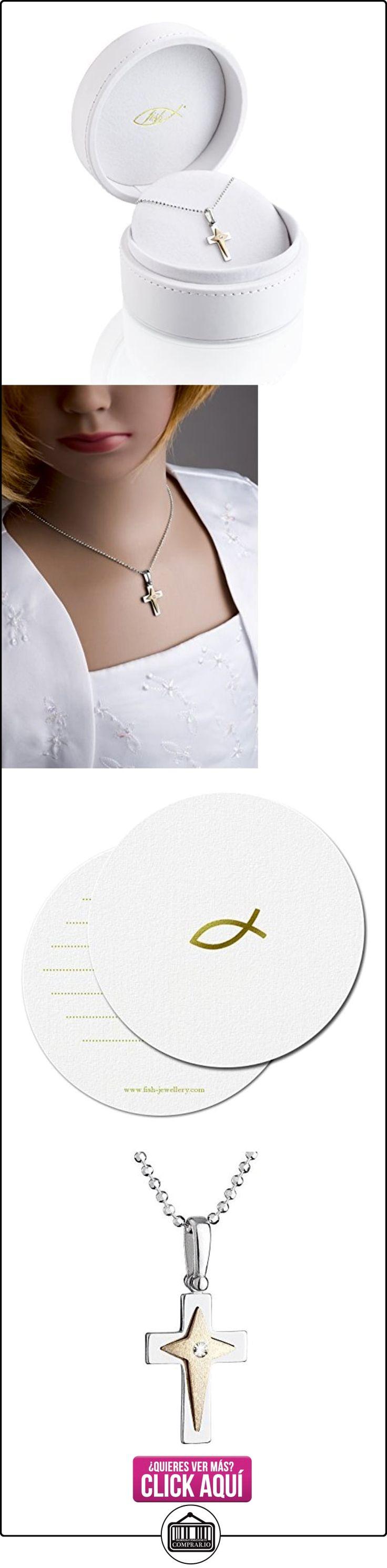 fish collar de plata para chicos, chicas, plata de ley 925 Elementos Swarovski colgante de cruz de plata dorada 42 cm  ✿ Joyas para niños - Regalos ✿ ▬► Ver oferta: https://comprar.io/goto/B01D36Z06G
