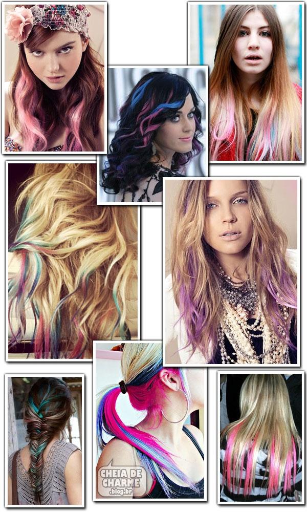 Love colors mixed in. http://cheiadecharme.blog.br/se-jogando-nas-mechas-coloridas/