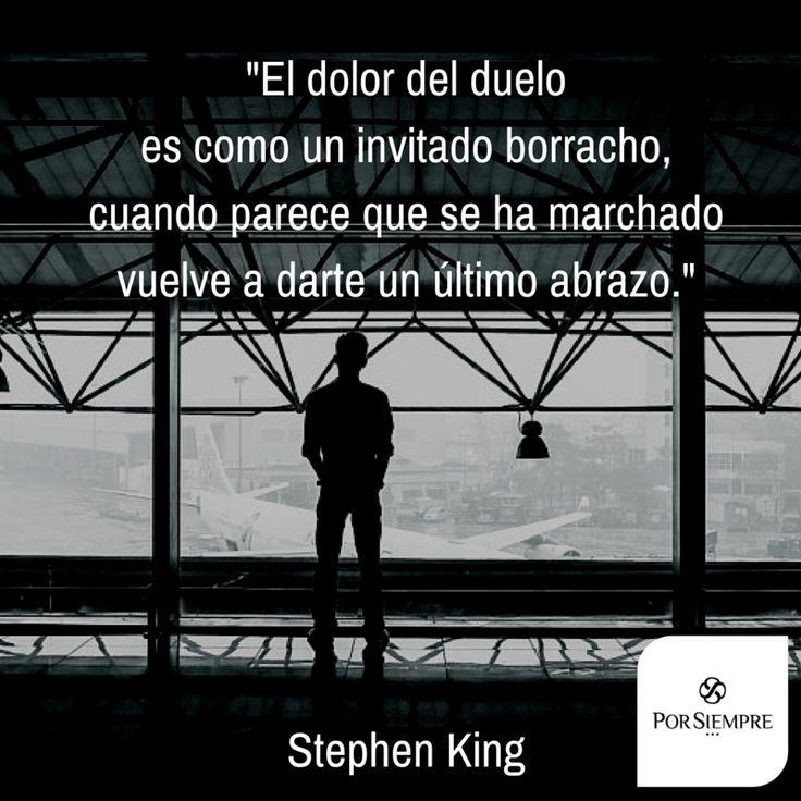 """""""El dolor del duelo es como un invitado borracho, cuando parece que se ha marchado vuelve a darte un último abrazo."""" Stephen King. http://www.porsiempre.es/ #frases #duelo #joyas #cenizas"""