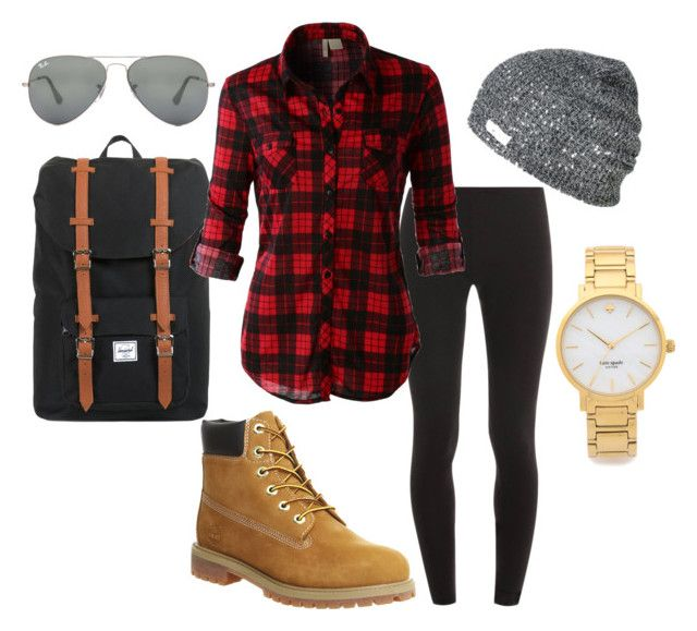Winter/fall by taraaucoin on Polyvore featuring LE3NO, Splendid, Timberland, Herschel, Kate Spade and Ray-Ban