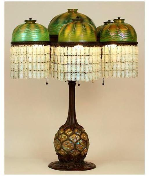Antique Tiffany Chandeliers 1900: Tiffany Studios Pineapple Lamp, Circa 1900-1906. Via New
