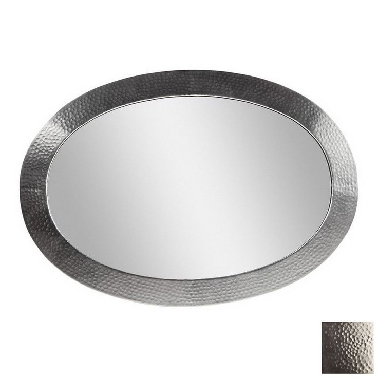 Photo Album Gallery The Copper Factory Solid Hammered Copper Framed Oval Mirror Satin Nickel