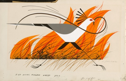 Secretary Bird with Black Mamba | Charley Harper Originals