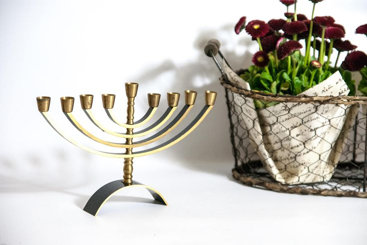 Vintage metal menorah, Jerusalem, jewish candlestick, judaica candle holder, Hanukkah candles, vintage candle holder, souvenir Jerusalem by VintageEuropeDesign on Etsy