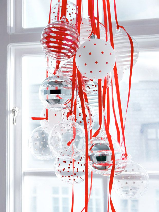 christmas decor . I want to do this with blue for winter wonderland