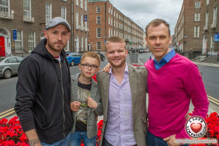 Pictured: Richard Lynch with Peter McNamara, creator of Narcan, Harris McNamara, Peter's son and rising young actor and Peter Halpin, lead actor of the film. Picture: Jonathan Baynes. By I Love Lim...