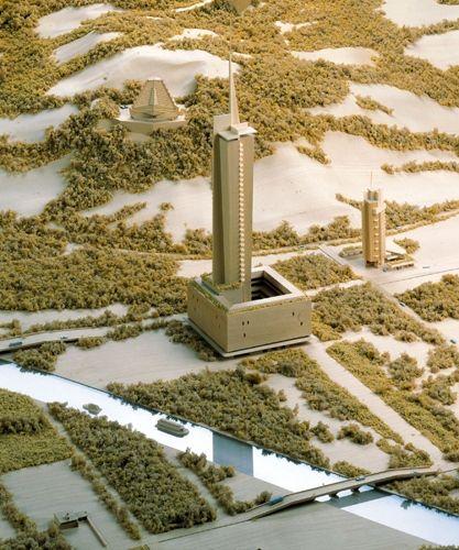 Frank Lloyd Wright, Living City. 1959 (Costruito da George Ranalli, 1997). Compensato, legno di tiglio, plexiglas, espanso, impiallacciatura di legno. 54,6x244x244 cm. Particolare. Weil am Rhein, Vitra Museum