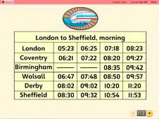 Reading times on a train timetable
