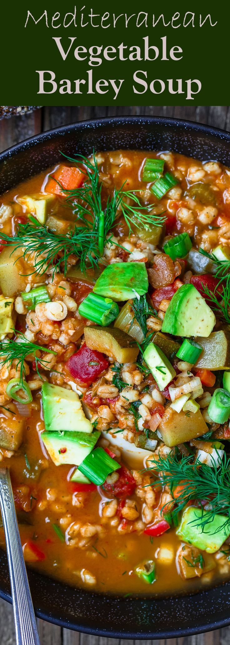 Chunky Vegetable Barley Soup, Prepared Mediterranean-Style! A satisfying, healthy, and warm-your-belly barley soup!  Tons of texture and flavor. Don't skip the lemon juice and fresh herbs!  #soup #souprecipes #barley #grains #vegetarian #vegetarianrecipes #mediterraneandiet #mediterranean