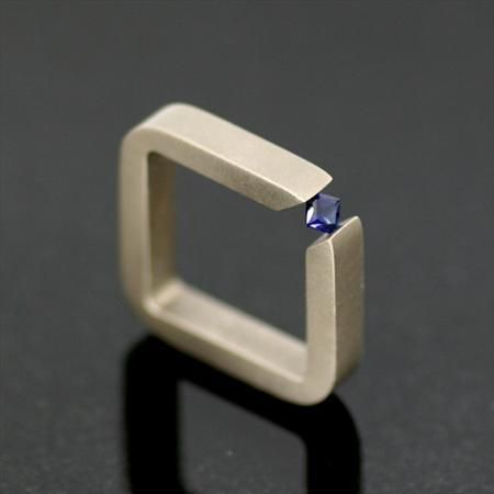 Titanium Square Ring with Corner Tension Set Square Cut Synthetic Blue Sapphire