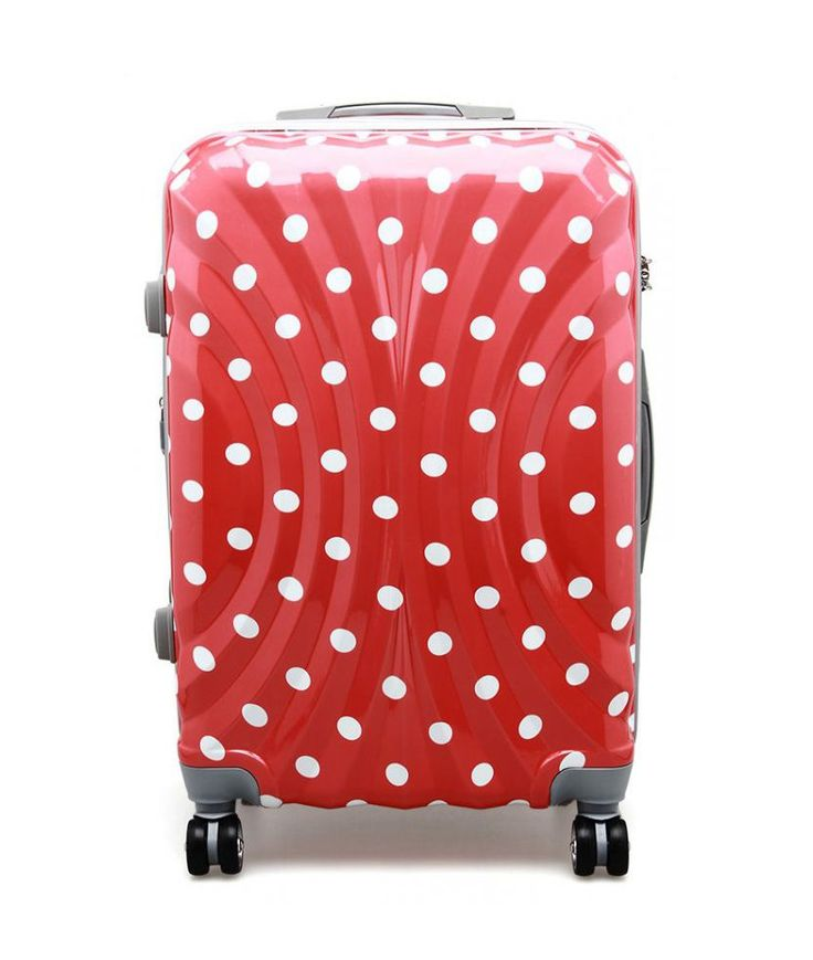 Polo Team 807 suitcase red polkadot pattern. Cute polkadot suitcase with simple design, 4 wheels this suitcase come with white polkadot pattern with red base, travel in style with this polo team 807 suitcase.  http://zocko.it/LE1ej