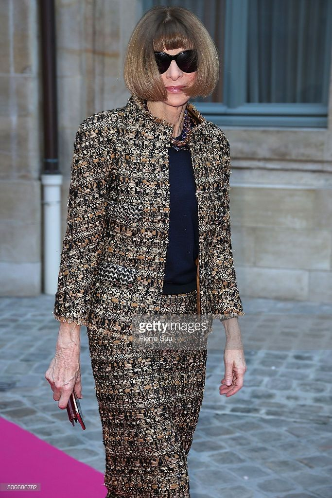 Anna Wintour attends the Schiaparelli Haute Couture Spring Summer 2016 show as part of Paris Fashion Week on January 25, 2016 in Paris, France.