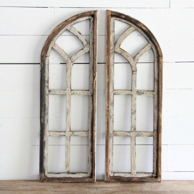 Amazing Window Picture Frame Arched Wooden Set Of 2 Antique