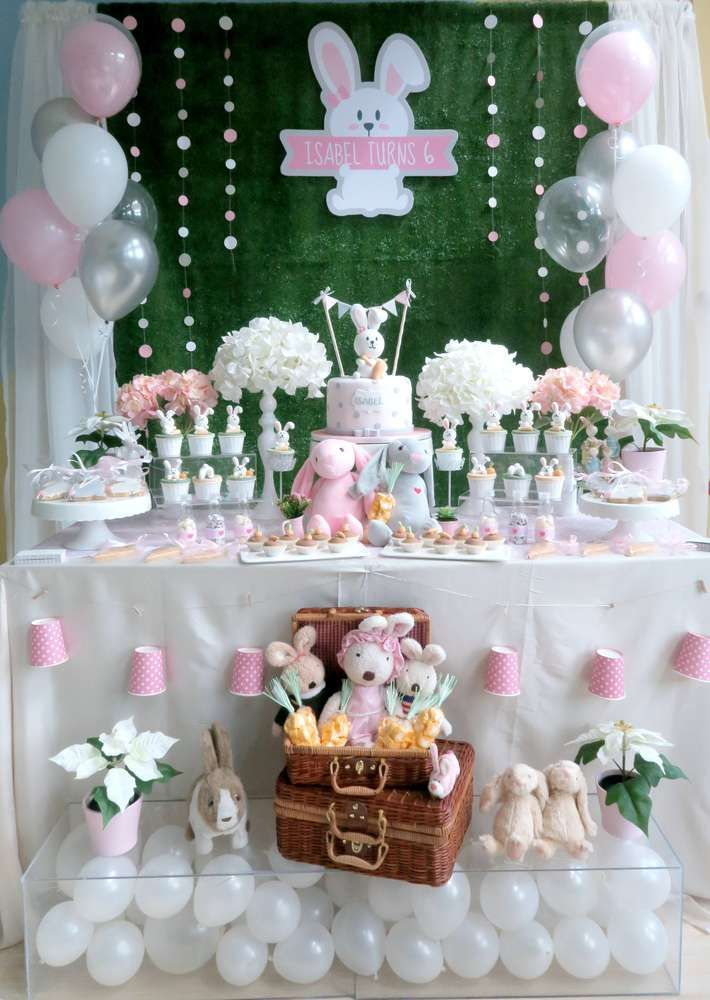 Rabbit Theme Birthday Party Ideas Photo 1 Of 21 Easter Birthday Party Bunny Birthday Party Easter Baby Shower