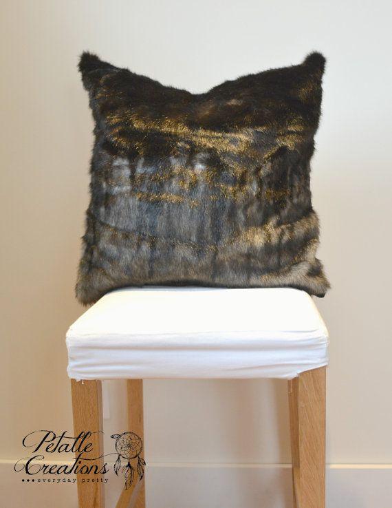 Fur Pillow Rustic Pillow Pillow Covers Chalet by PetalleCreations