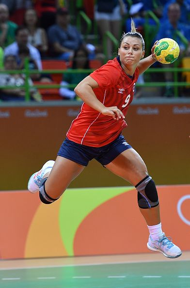 #RIO2016 Best of Day 1 - Nora Mork of Norway shoots during the women's preliminaries Group A handball match Norway vs Brazil on Day 1 of the Rio 2016 Olympic Games at Future...