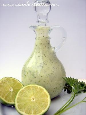 Cilantro-Lime Vinaigrette + Grilled Fish Tacos | Our Best Bites --for the corn salad
