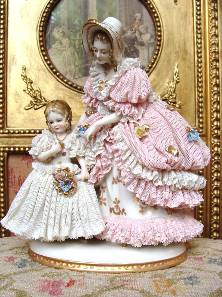 Wonderful early Dresden figurine mother and girl. from les-fees-du-temps on Ruby Lane