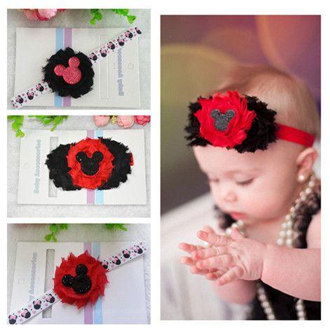 1pc free shipping Minnie Headband, Newborn Elastic Ribbon Flower Headband, Mouse, Shabby Chic Hair Band, Black and Red Headband