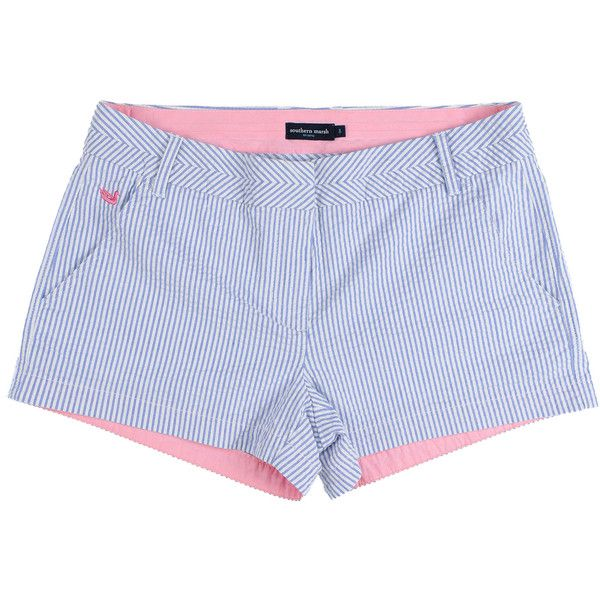 The Brighton Seersucker Chino Short in Blue Stripe by Southern Marsh (195 RON) ❤ liked on Polyvore featuring shorts, chino short, seersucker short, striped shorts, chino shorts, blue shorts, short chino shorts and blue chino shorts