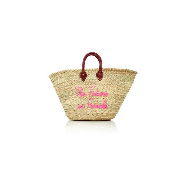 M'O Exclusive Le Gran Maman Embroidered Straw Tote   Moda Operandi ❤ liked on Polyvore featuring bags, handbags, tote bags, tote purses, straw tote handbags, embroidered totes, beige tote and beige tote bag