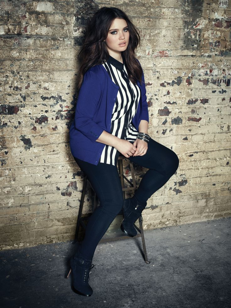 Addition Elle plus size premium essential cardigan with sleeveless striped blouse and premium essential knit pants.