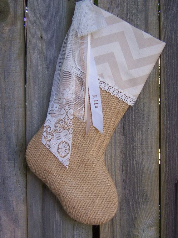 Chevron Burlap Stockings Lace Country French Farmhouse Chic Personalized