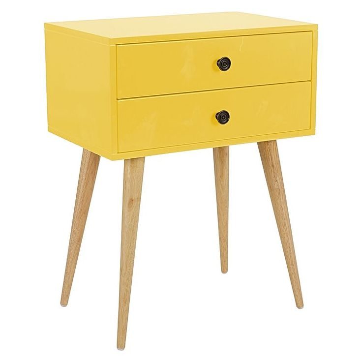 Discover colour in your bedroom with the spirited gloss and Scandinavian legs of the retro-chic Lois Yellow Bedside Table from Zanui.