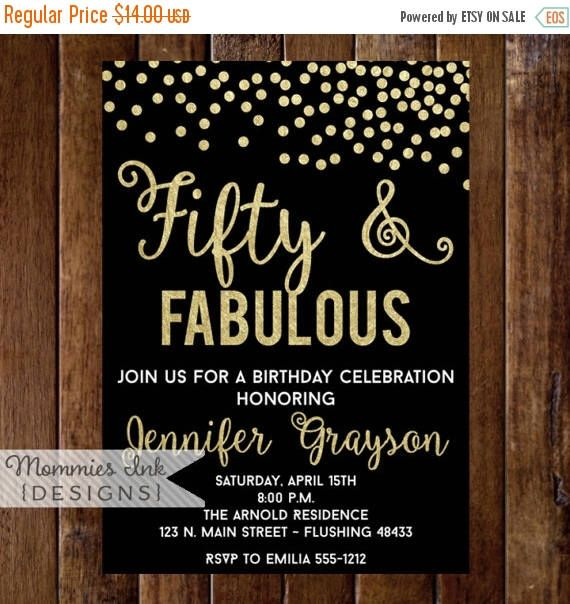 10% OFF SALE Fifty and Fabulous Invitation, 50th Birthday Invitation, Fiftieth Birthday Invitation, 50th Birthday Invite, 40th, 50th, 60th, by MommiesInk on Etsy https://www.etsy.com/listing/499033434/10-off-sale-fifty-and-fabulous