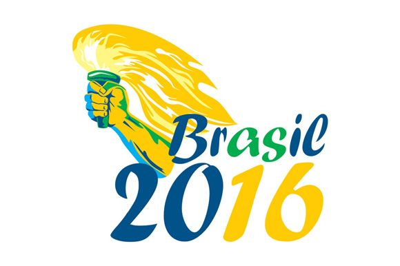 Illustration of an athlete hand holding flames flaming torch viewed from side with words Brasil 2016 depicting the summer games on isolated white background.The zipped file includes editable