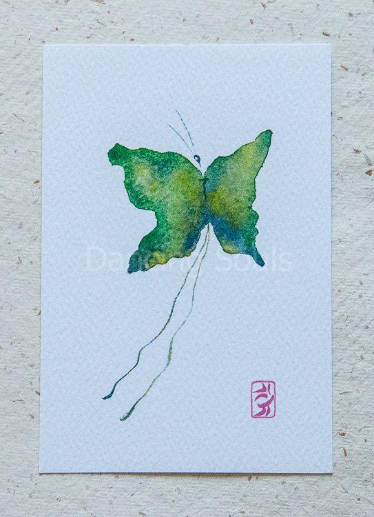 Butterfly green watercolour painting dancer by DancingSoulshop