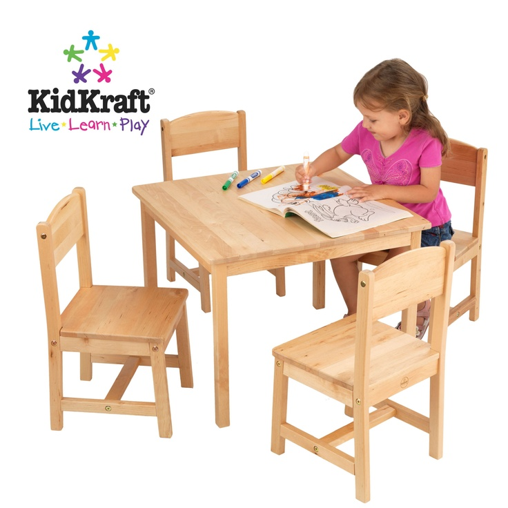 KidKraft Farmhouse Kids Table and Chairs in Natural Site has cute table