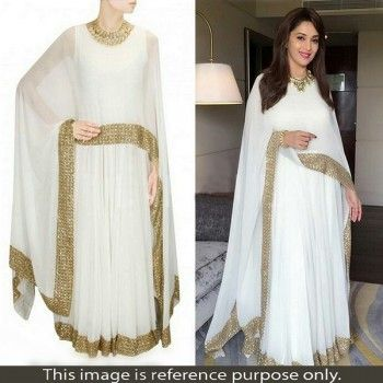 Madhuri Dixit Georgette Lace Work Plain Off-White Semi Stitched Bollywood Designer Suit - W0007
