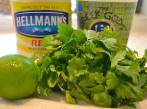 Cilantro Lime Sauce for fish tacos...etc! 1 cup mayonnaise  1 cup Greek yogurt  1 cup cilantro (some stems are okay)  1 tablespoon extra virgin olive oil  Juice of 2 limes  Pinch of salt