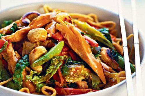Жареные овощи с грибами и соевым соусом