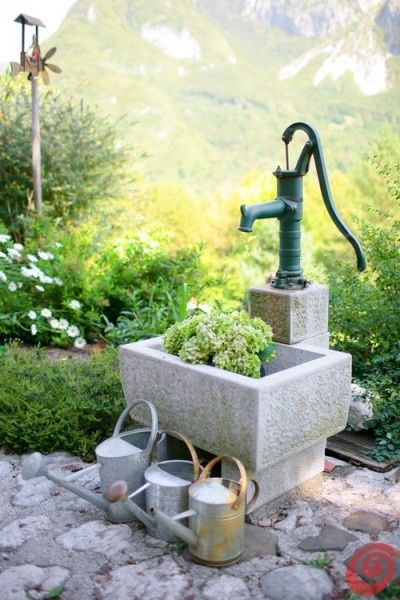 Water Cans, Water Trough & Well For Yard..love pump, could make into fountain too?!