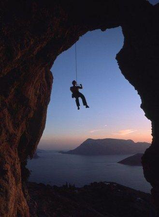 Kalymnos, Rock Climbing with Telendos in the backdrop