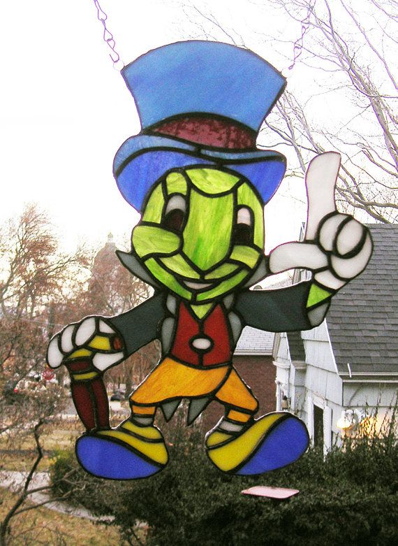 Jiminy Cricket Stained Glass Figure 14 top by StainedGlassArtist