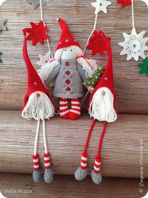 Игрушка Поделка изделие Новый год Рождество Вязание крючком Вязание спицами Шитьё Белоснежка и семь гномов Нитки Пряжа Ткань фото 1