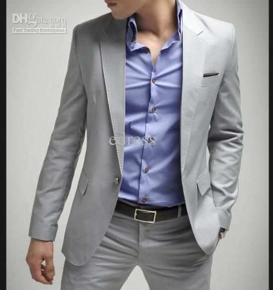 Wholesale Fashion Grey Mens Suit Single-Breasted 1 Button Slim Fit wedding suit (suitpant) Light gray, Free shipping, $97.01-114.88/Piece | DHgate