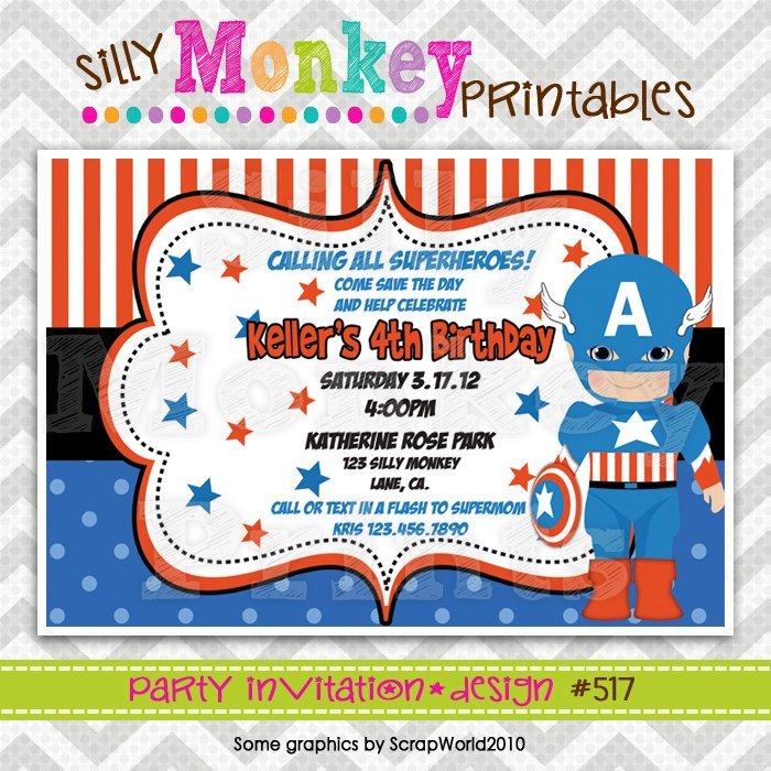 517: DIY - Super Hero Captain America Party Invitation Or Thank You Card. $12.95, via Etsy ...