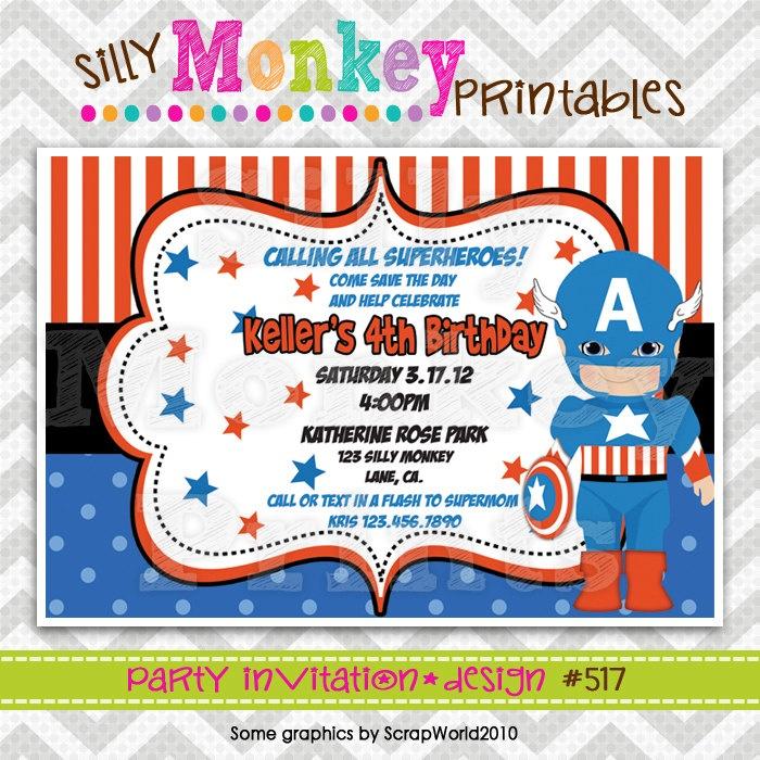 Super Hero Captain America Party Invitation Or