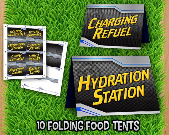 Nerf Food Labels - INSTANT DOWNLOAD - 10 Nerf Gun Food Tents Cards Tags Printable - Nerf Gun Party Printable Matches Invitation