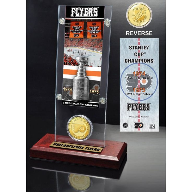 Highland Mint Philadelphia Flyers 2x Stanley Cup Champions Ticket and Bronze Coin Acrylic Display, Team