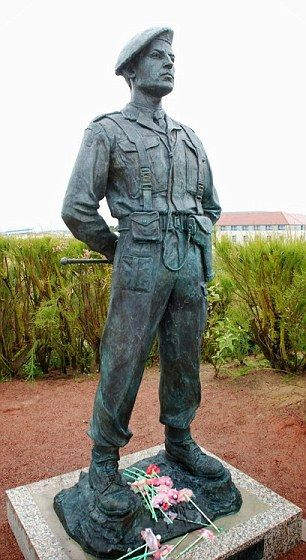 Unveiling of a statue to Lord Lovat in Ouistreham, France where he and his commandos held Pegasus bridge during the Normandy Landings in 1944