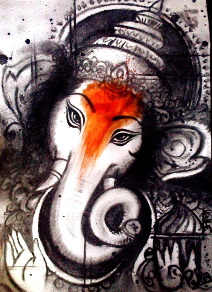 Speranza Dacroir, Om Gan Ganapataye Namah!, Charcoal & Acrylics, 2014.