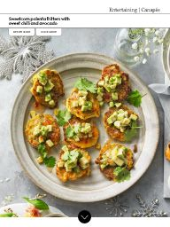 Waitrose Food November 2016: Sweetcorn polenta fritters with sweet chilli and avocado